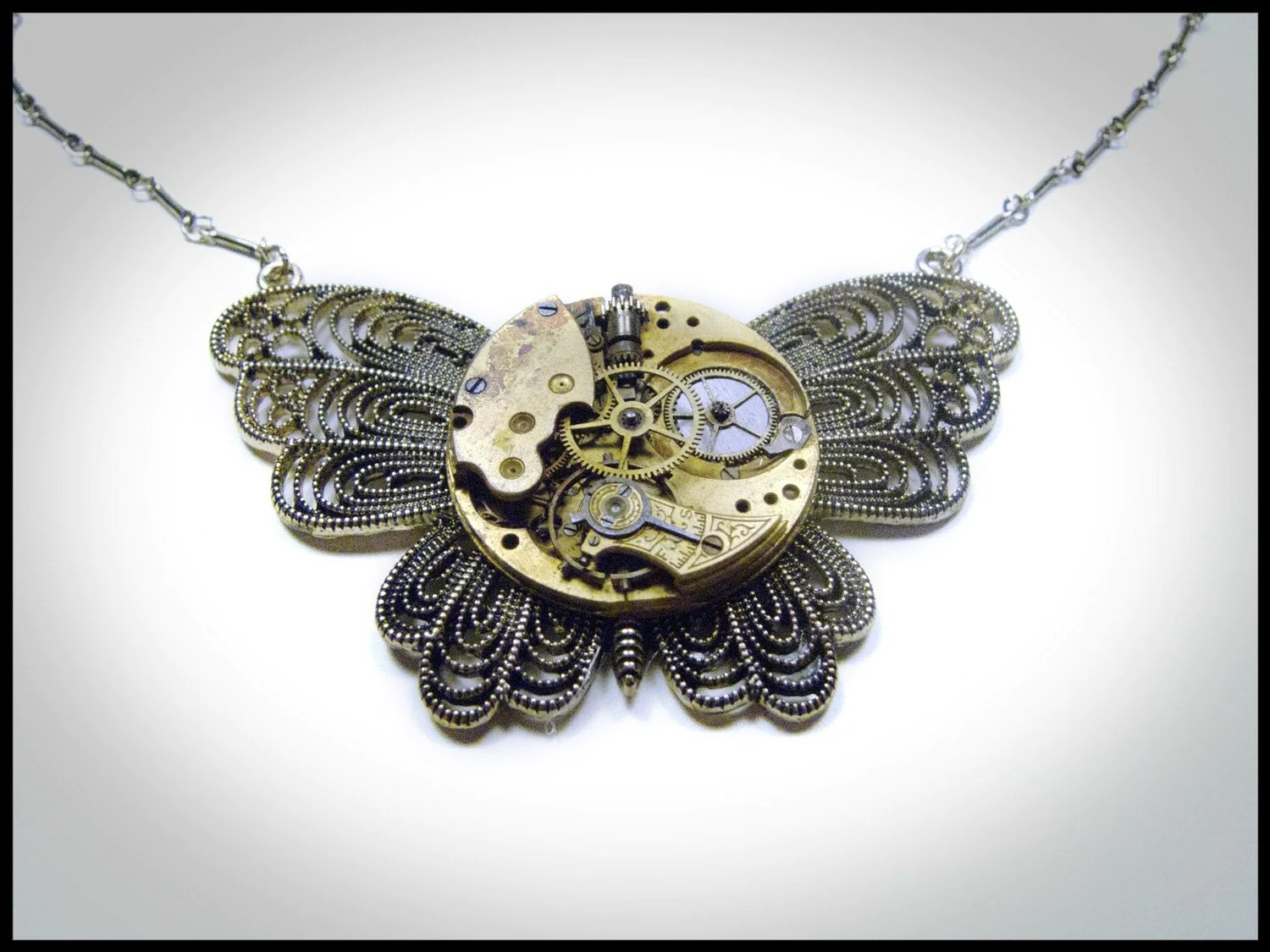 Steampunk Butterfly Pendant with Vintage Watch Movement