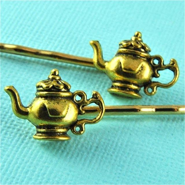 alice in wonderland inspired jewellery, bobby pins tea pot