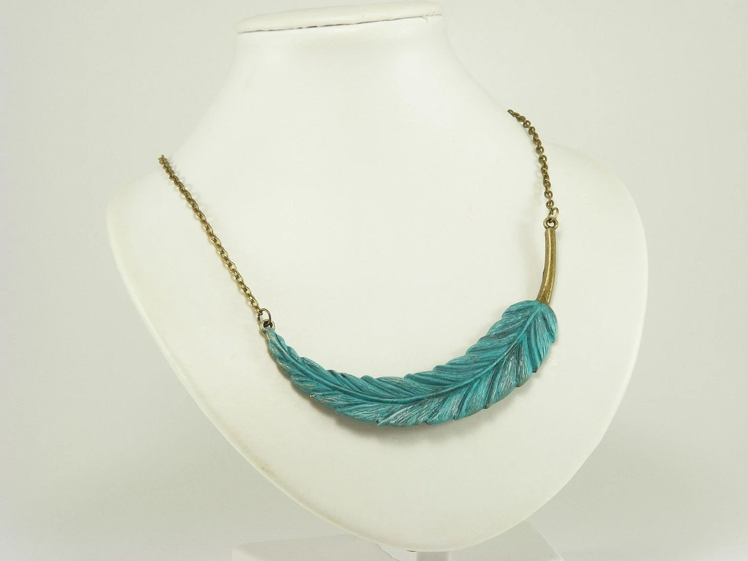 Turquoise Feather Necklace from Gleeful Peacock