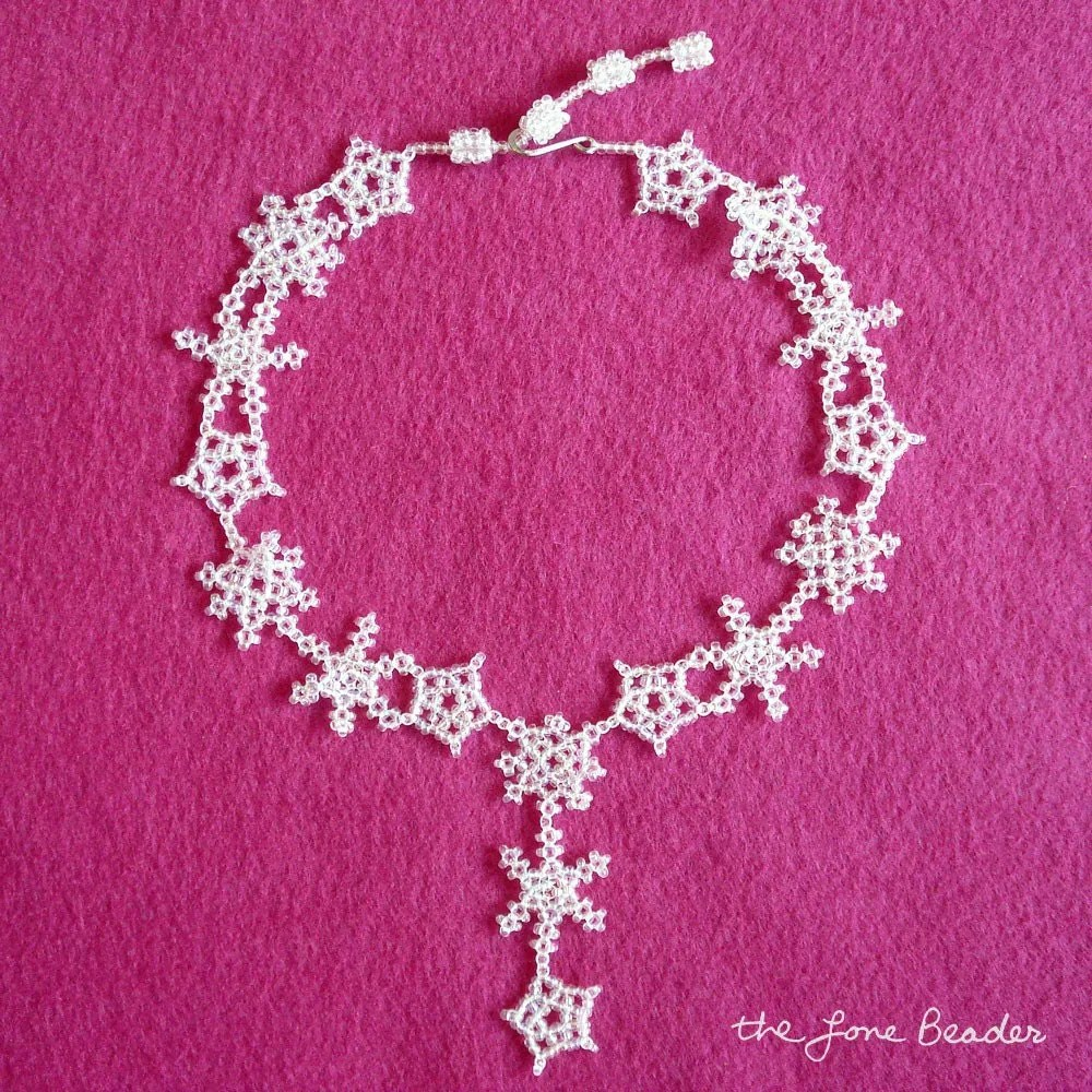 beaded snowflake lace choker necklace ice queen snow princess beadweaving wearable bead art etsy