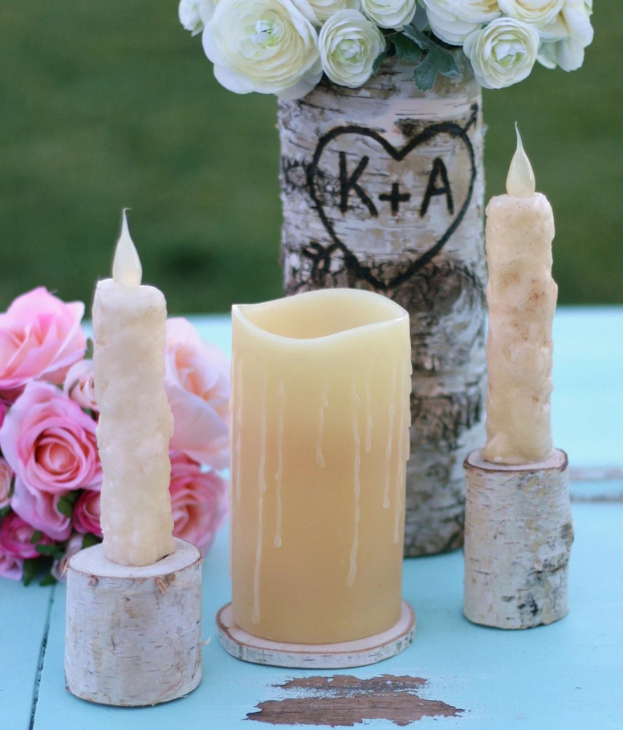 Rustic outdoor romantic wood log centerpieces
