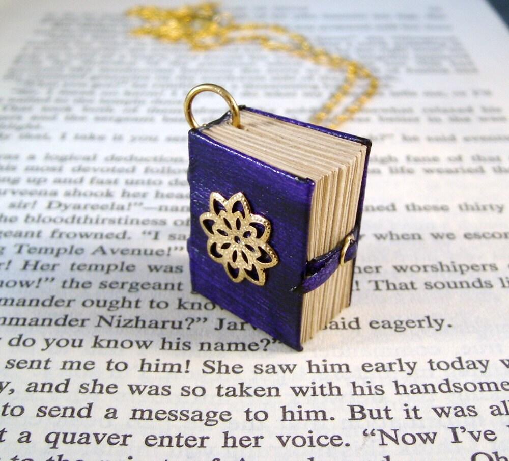 Book Necklace Purple