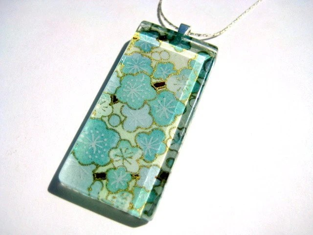 Popping Blossoms chiyogami necklace - $17
