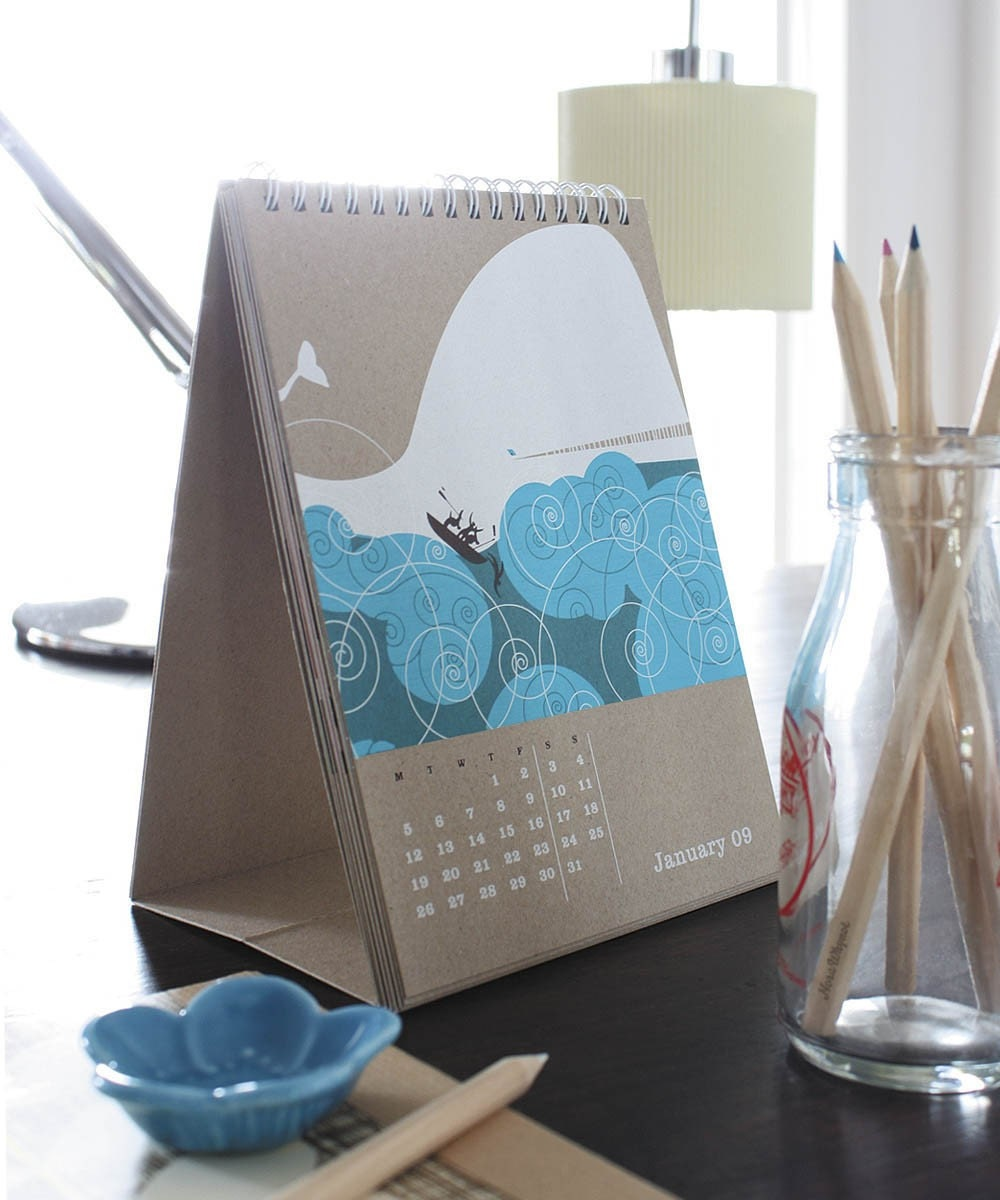 Although expensive, I love how this calendar props itself up--would be so cute on a desk! From norawhynots Etsy shop.