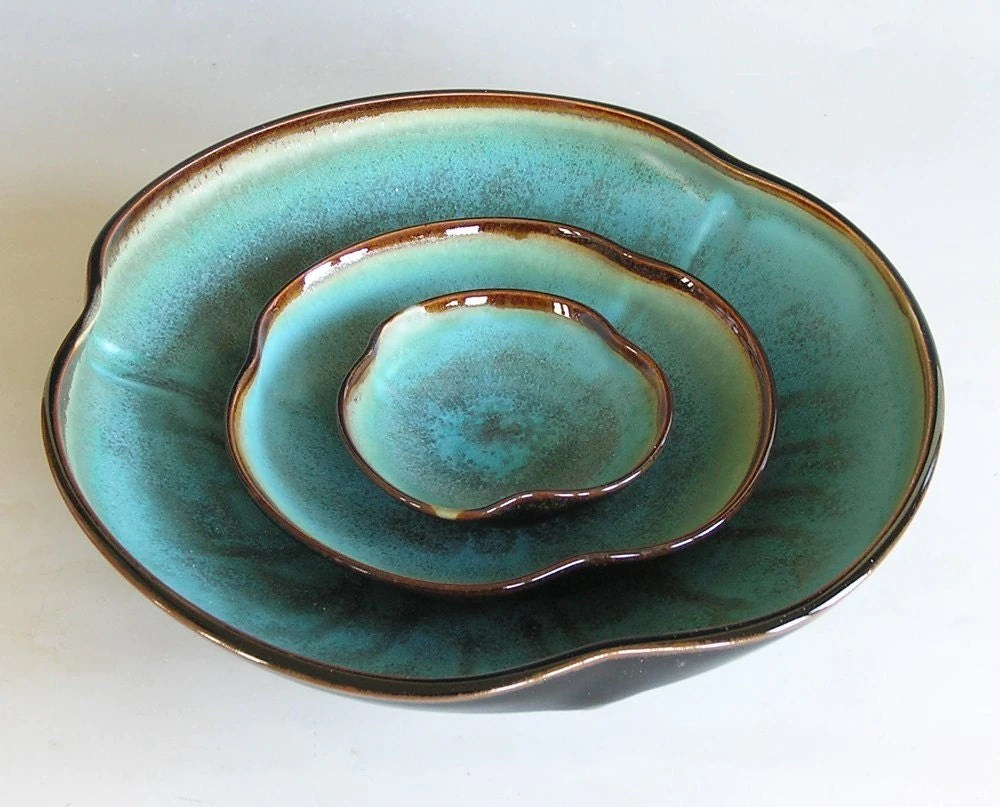 Poppy Bowl Nesting Set in Brown and Turquoise