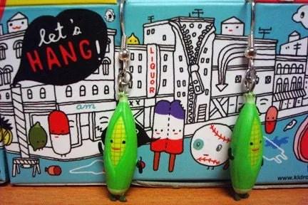 KidRobot Green Corn Husk Earrings