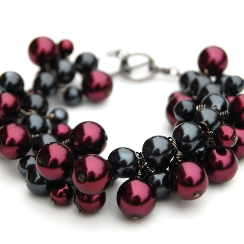 Black Cherry Pearl Bracelet