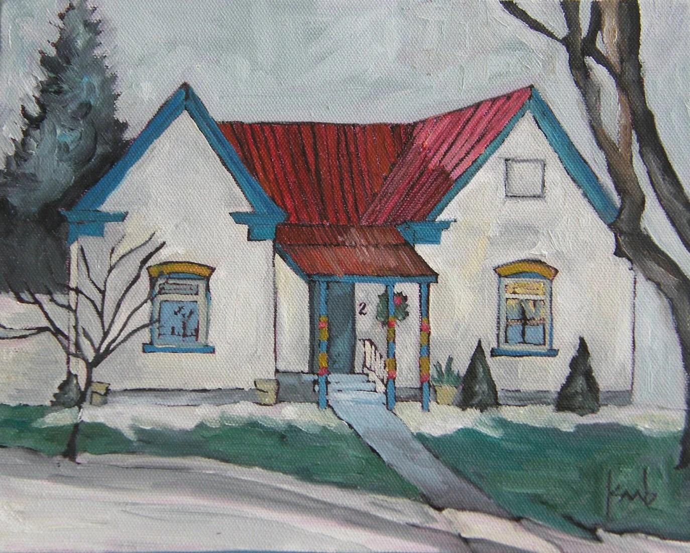 grown up gingerbread house original painting