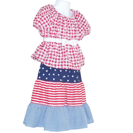GloryQuilts Girls Size 4 Patriotic Skirt Set  - SALE price