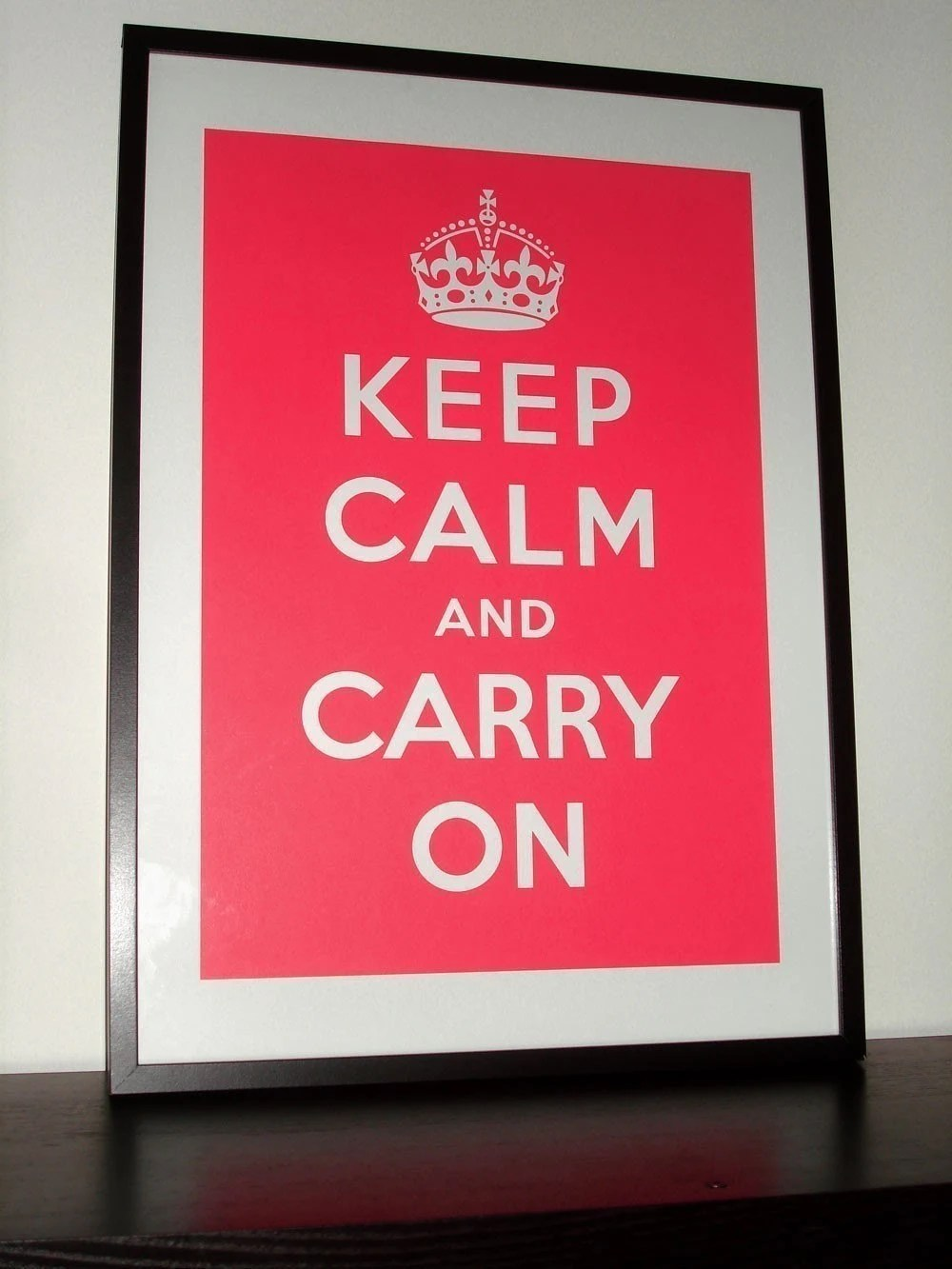 Keep Calm and Carry On (Coastal Coral) 16 x 23 Printed on Recycled Paper