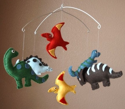 Dinosaur Felt Mobile - T-Rex, Brontosaurus, Pterodactyl, Stegosaurus, and Triceratops