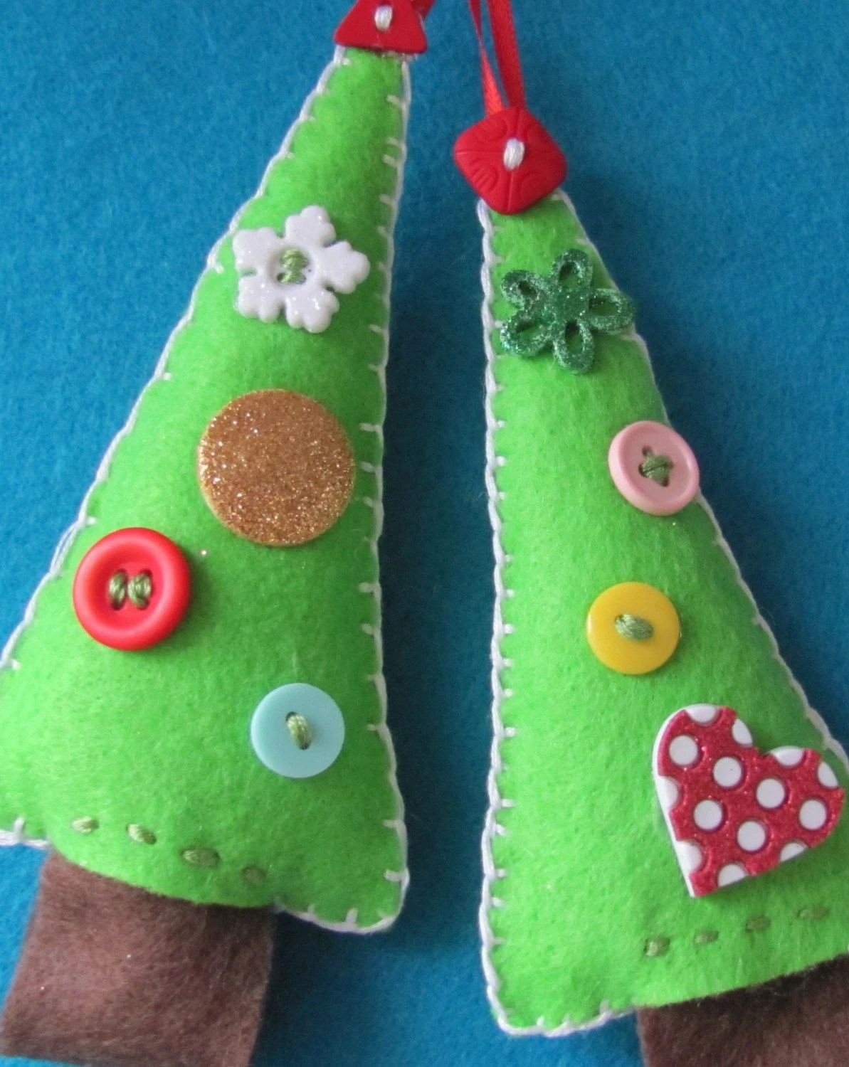 Bling and Button Felt Christmas Trees-Set of 2