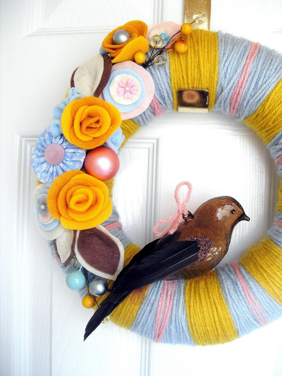Mustard and Blue Yarn Wreath