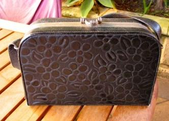 Vintage 1940s Vinyl Flower Embossed Handbag