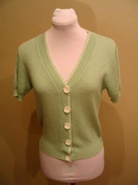 Vintage Late 1960s Spearmint Green Knitted Top