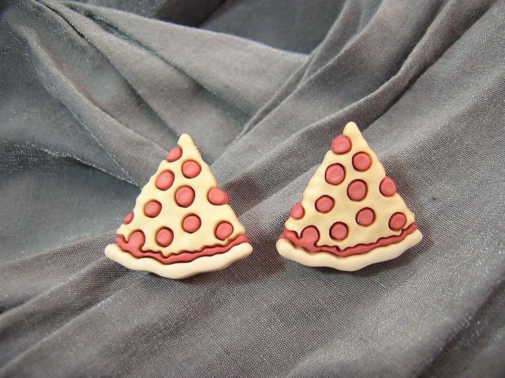 Pepperoni Pizza Slice Post Back Earrings - Handmade by Rewondered D225E-55507 - $8.95