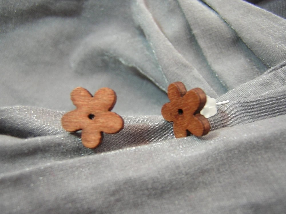 Small Brown Flower Post Back Earrings by Rewondered D225E-55505 - $4.95