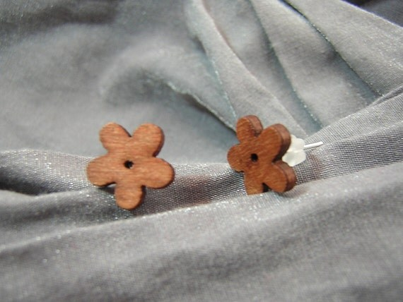 Small Brown Flower Post Back Earrings - Handmade by Rewondered D225E-55505 - $4.95