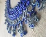 Stellar Stream --- Indigo / Gray ... Beaded Crochet Necklace