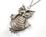 Large Vintage Owl Necklace Silvertone (Big Belly)
