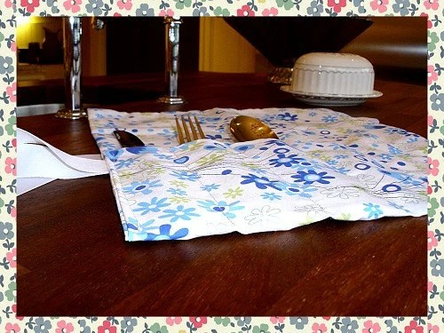 Handmade Shabby Chic Cutlery / Tool Wrap w/ Heart Patch