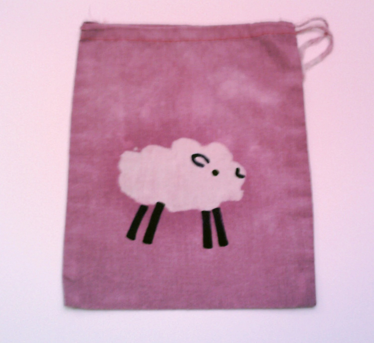 FREE SHIPPING batik SHEEP mini project or notion drawstring bag NO TEXT