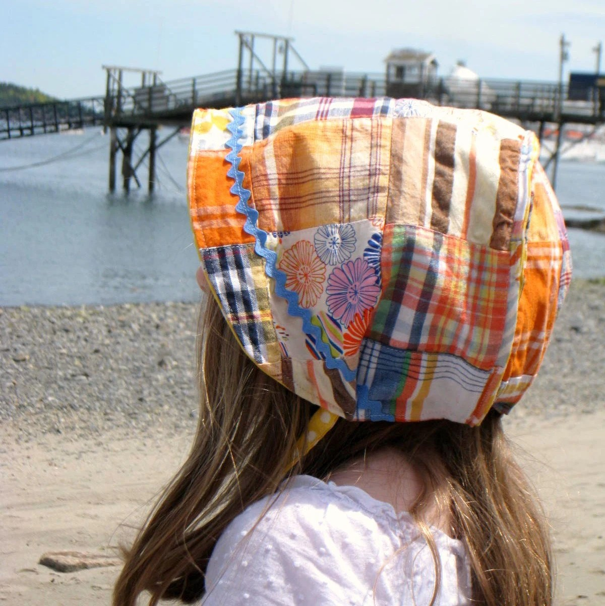 Reversible Bonnet -Summery Patchwork and Polkadots