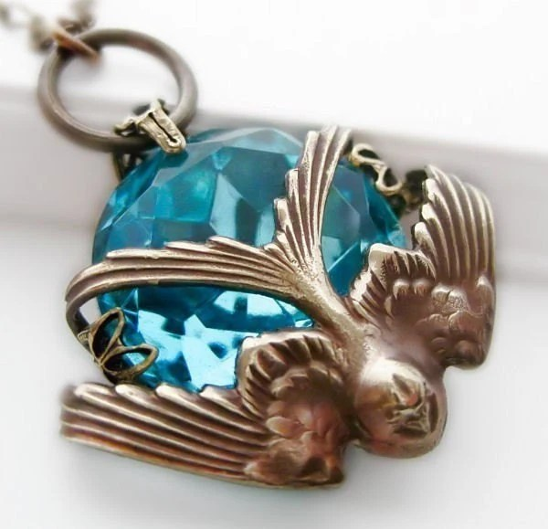 Heaven on my Wings Filigree Bird Necklace Art Deco Vintage Filigree Blue Design