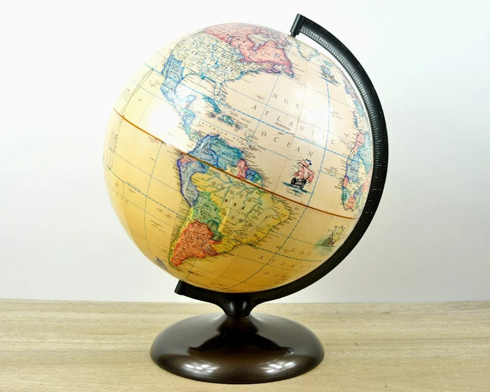 Vintage Rand McNally Terrestrial Globe with Original Handbook