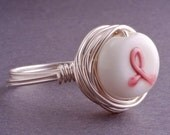 Breast Cancer Awareness Ring Sterling Silver and Pink Ribbon Lampwork Bead