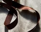 Antique silk chocolate satin taffeta ribbon dolls millinery french bebe