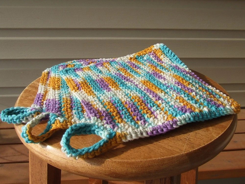 Set of Three Colorful Crocheted Cloths