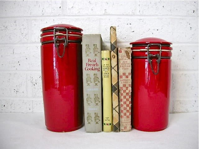 Vintage Modern Red Stoneware Canisters
