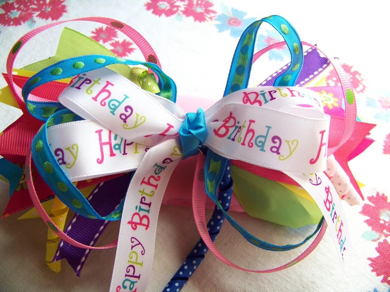 Happy Birthday stacked bow