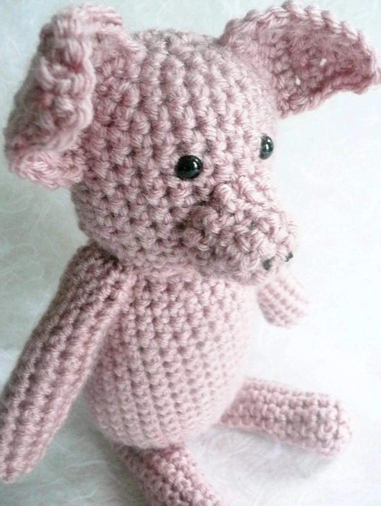 "Pink crochet pig - 10"" tall - READY TO SHIP"