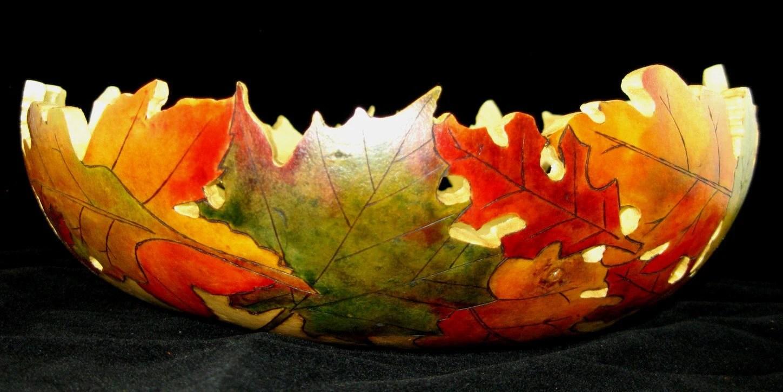 Autumn Dance Fall Leaf Gourd Bowl