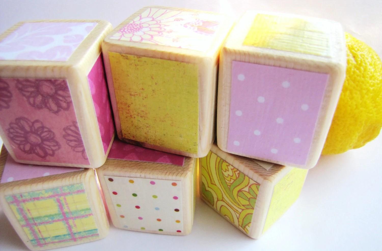 Wood Baby Blocks/Nursery Decor Pink Lemonade