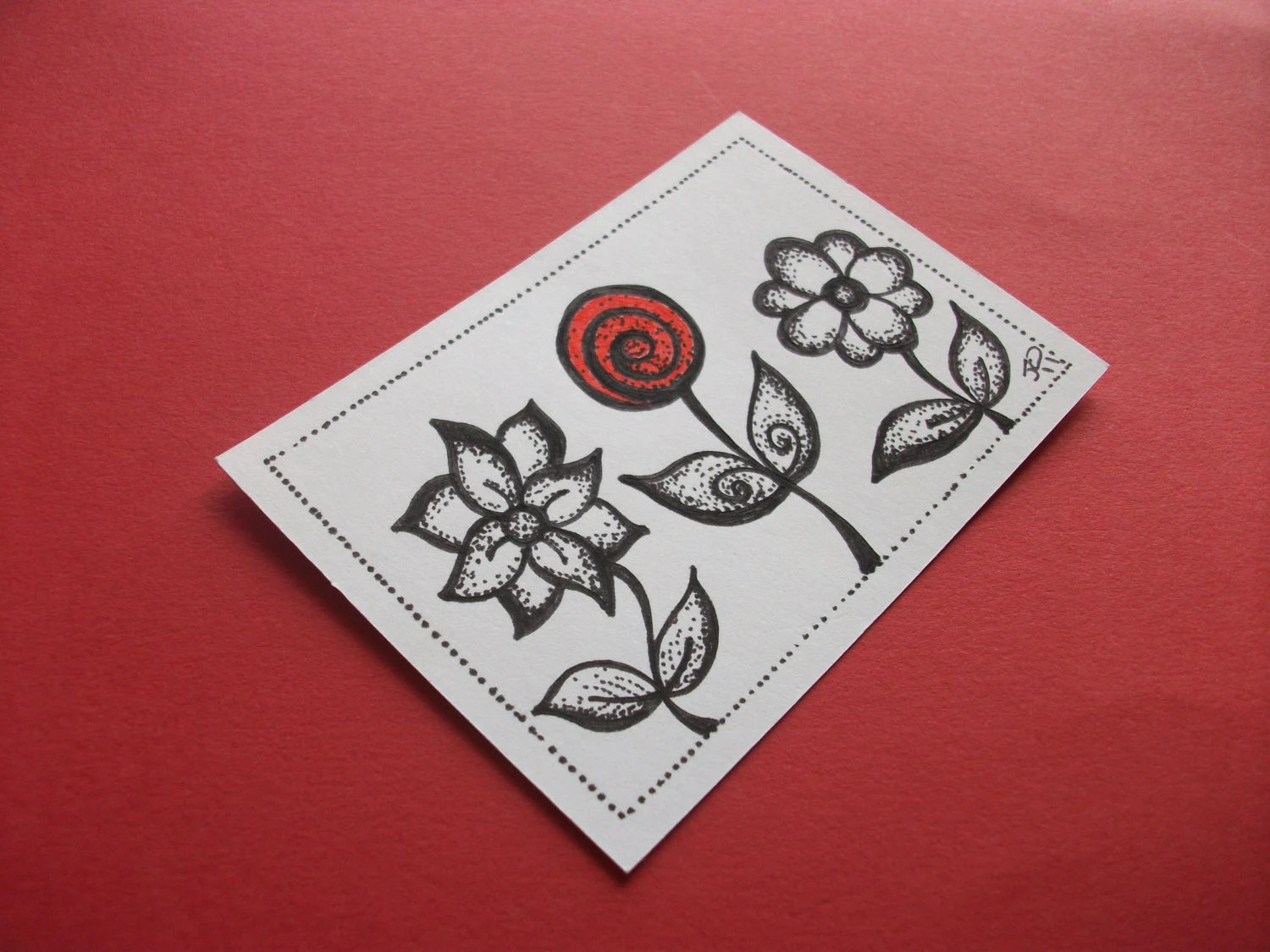 ACEO Original Ink Drawing, Painting the Roses Red