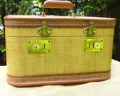 Large Tweed Train Case with Brass Trim hand and Locks-ON SALE