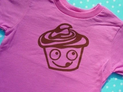 Joe Chocolate Cupcake Screen Printed PINK Toddler T Shirt 2T to 7T