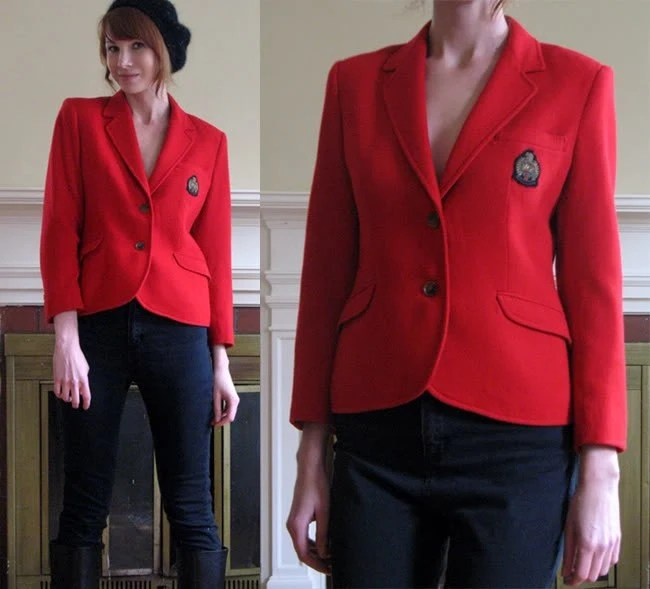 Vintage 80's MOD Red Crested Patch PREP SCHOOL Blazer S/M