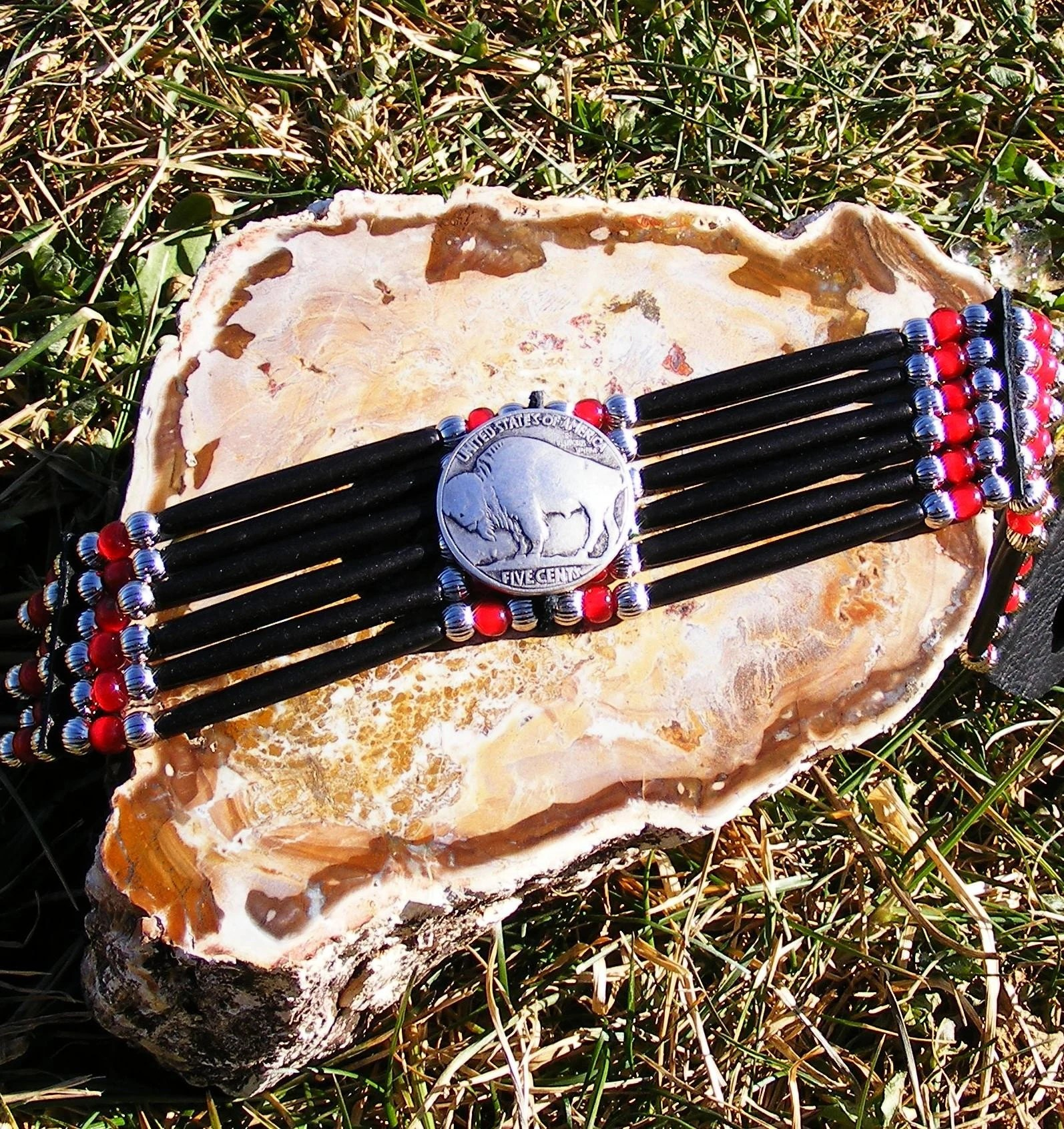 Native American Indian Traditional Bone Choker in Red and Black with Buffalo Coin