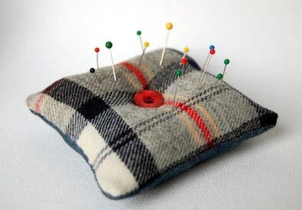 Vintage Scottish Wool Tartan and Recycled Denim Pin Cushion