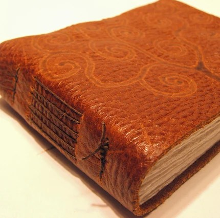 Rustic Brown Leather Journal with Swirly Tree Burn-In - Blank