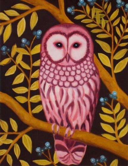 Lady Owl print -  premium matte paper