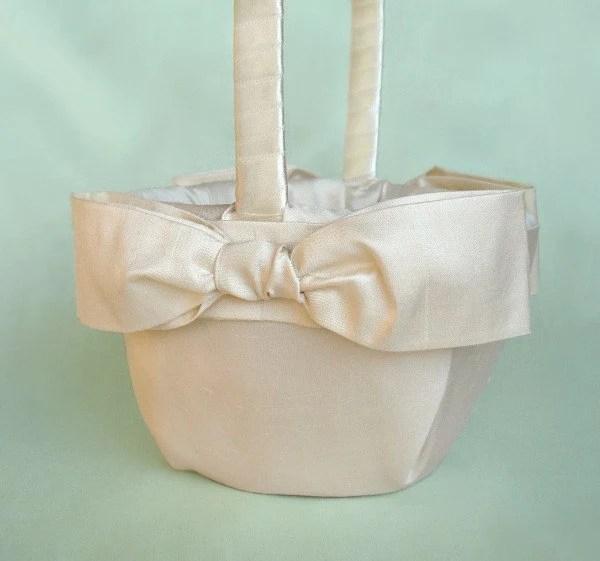 White or Ivory Sash Bow Flower Girl Basket