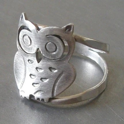 Large Silver Owl Ring