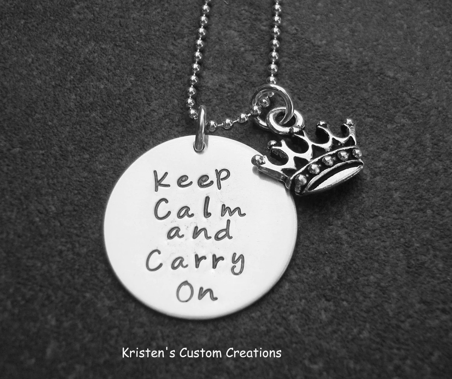 Keep Calm  and Carry On Hand Stamped Necklace