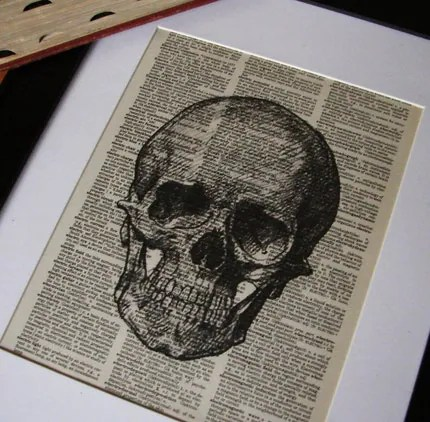 Vintage DICTIONARY Art Print - Skull Illustration - 8x10