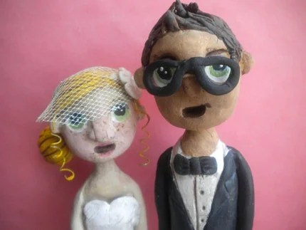 Custom Wedding Cake Topper-clay folk art